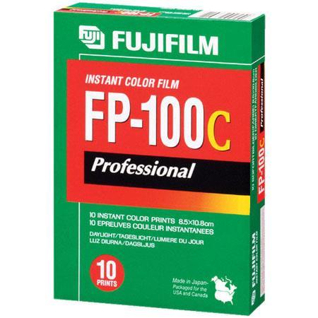 "Fujifilm FP-100C Instant Color Print Film, ISO 100, 3.25"" x 4.25"", Pack of Ten (10), image"
