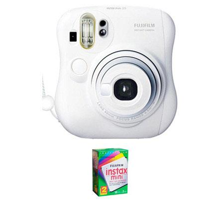 Fujifilm Instax Mini 25 Instant Photo Camera Kit, for Vivid Credit Card Size Instant Prints - White - with Fujifilm Instax Mini Instant Daylight Film, Twin Pack
