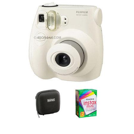 Fujifilm Instax Mini 7S Instant Film Camera Kit, (White) with Fujifilm Instax Mini Instant Daylight Film, Twin Pack, 20 Exposures, ISO 800. & Adorama Hard C