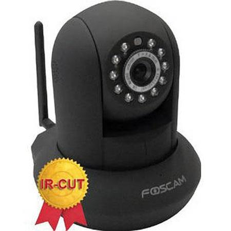 Foscam FI8910W Wireless N IP Camera with CMOS Sensor, 640x480 Resolution, IR-Cut Filter, Night Visibility Up to 8m, Black