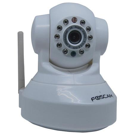 "Foscam Wireless IP Camera, 1/4"" Color CMOS Sensor, 26' Night Vision, 802.11b/g Wireless, 3.6mm Lens, White"