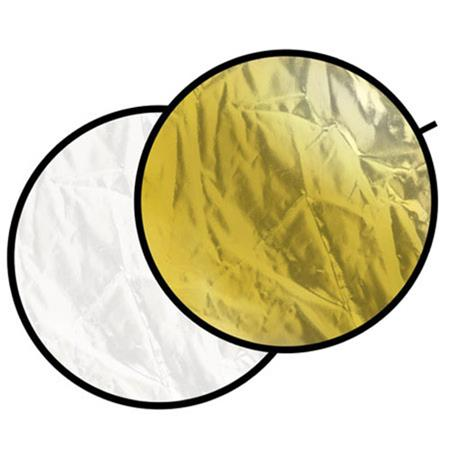 """Glow 32"""" Circular Collapsible Disc Reflector, Wavy Silver / Gold & White"""