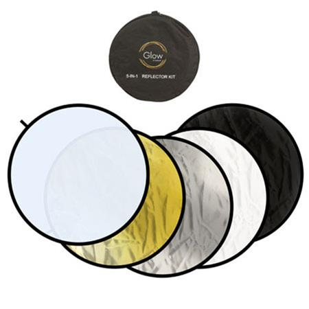 "Flashpoint 32"" 5-in-1 Collapsible Disc Reflector, Translucent, White, Black, Silver & Soft Gold. image"