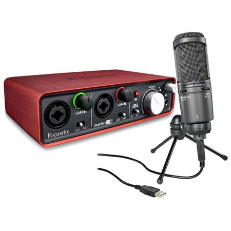 Focusrite Scarlett 2i2 2-Input/2-Output Portable USB Audio Interface with 2x Microphone Preamplifiers, - BUNDLE With Audio-Technica AT2020USB+ Cardioid Condenser USB Microphone