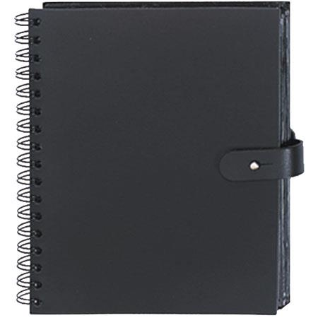 "Prat Paris Pampa, Spiral Bound Photo Album, Solid Black Color Leather Covers, Holds 50 4"" x 6"" Photos, 1 Per Page. image"