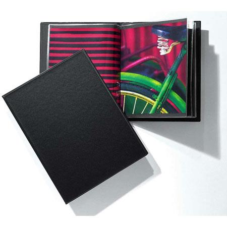 "Prat Slimbook, Bound Presentation Book with Twelve 8.5""x 11"" Archival Sheet Protectors, Cover Color: Black. #135 image"