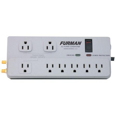Furman Sound Power Station PST-2+6 Home Theater Power Conditioner & Surge Protector, 8 Outlets, 1 Coax Pair & Phoneline Protection