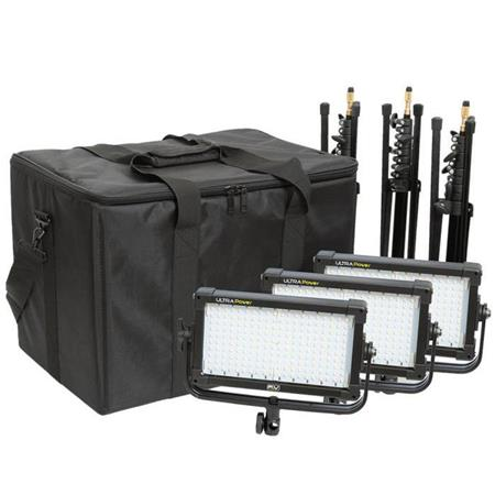 F & V K2000 Power Daylight LED Half-Panel 3-Light Kit, Included 3 Lights, 3 Stands, 3 V-Mount Plate and Case