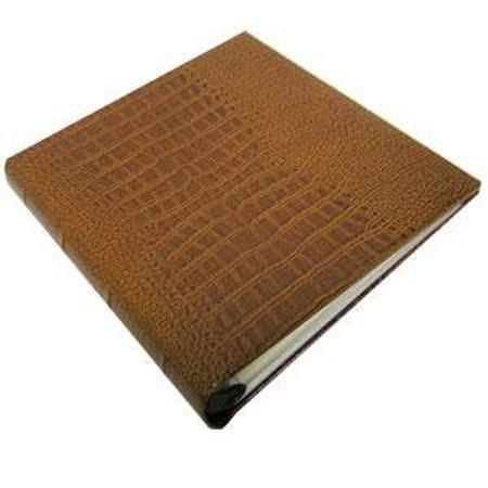 "Gallery Leather 3 Ring Compact Embossed 9x8"" Album with Bonded Leather Tan Covers, 60 Pages holds Two 3x5"", 4x6"" Photos per Side."