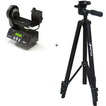 GigaPan Epic 100 Robotic Panohead - GigaPixel Panoramas for Larger Point & Shoot Digital Cameras (Also Works on Some Small DSLR's) - Bundle - with Aiptek ZAC-STD-5 Lightweight Aluminum Tripod with 3-Way Pan Head