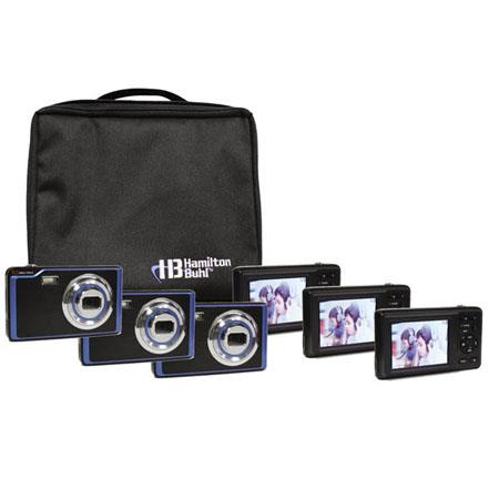 "Hamilton Buhl CAMERA-DC2-6 Camera Explorer Kit, Includes Six 5MP Digital Cameras with Flash and 2.4"" LCDs, Nylon Carry Case"