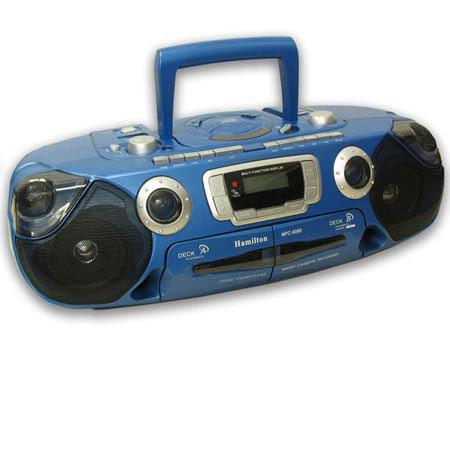 Hamilton Buhl Portable Boombox with CD, Dual Cassette and AM/FM Radio, 2 x High-Speed Dubbing