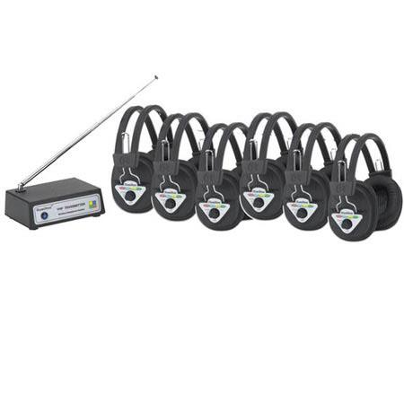 Hamilton Buhl 6 User Wireless Listening System with W901-Multi Wireless Headphones, W900-Multi Wireless Transmitter, Multi Frequency