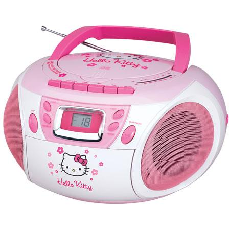 Hello Kitty KT2028A Stereo AM/FM/CD Boombox with Cassette Player/Recorder, LED Display