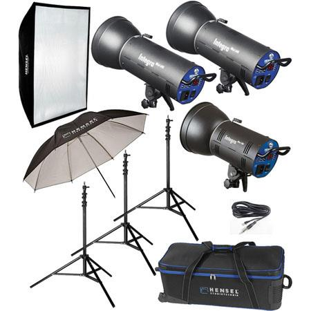 Hensel Integra 3 Light Mini 15000Ws Kit with Mini 300, 2 Mini 600s Monolights, 300 W Modeling Light