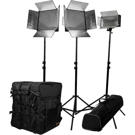 ikan IDK2115 Large Location Kit, ID 1000 LED Light, 2 ID 500 LED Light, 3 Light Stands, 3 Utility Light Bag, Stand Bag