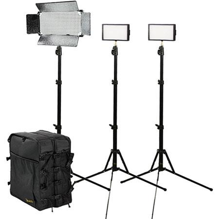 ikan IDK2315 Small Interview Kit, 2 iLED 312 LED Light, ID 500 LED Light, 3 Light Stand, 2 Utility Light Bag