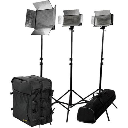 ikan IDK2511 Small Location Kit, 2 ID 500 LED Light, ID 1000 LED Light, 3 Light Stands, 2 Utility Light Bag, Stand Bag