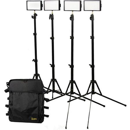 ikan IDK4312 Standard Interview Kit, 4 iLED 312 LED Light, 4 Light Stand, Utility Light Bag
