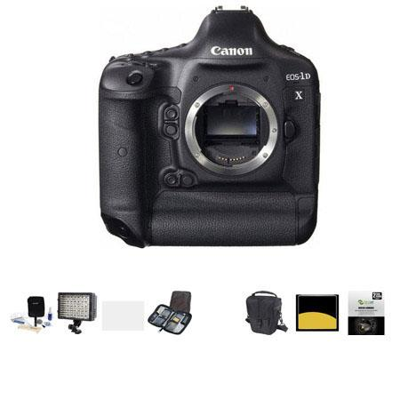 Canon EOS-1D X Digital SLR Camera, - Bundle - with 32GB Compact Flash Memory Card, Camera Bag, 2 Year Extended warranty, 126 Led Video Light, Adobe Software Package, Cleaning Kit, Memory wallet, Screen Protector