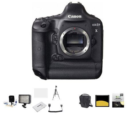 Canon EOS-1D X Digital SLR Camera, - Bundle - with 64GB Compact Flash Card, Camera Bag, 2 Year Extended (Spills) Warranty, 126 Led Video Light, Adobe Package, Cleaning Kit, Memory wallet, Screen Protector,Dual Off Camera Shoe Cord,Sunpack Tripod