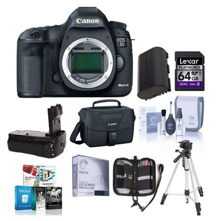 Canon EOS-5D Mark III Digital SLR Camera Body, 22.3 Megapixel, USA Warranty - Bundle - with Battery Grip, 2-Connecting Cords, STV-250N Stereo Video Cable, Replacement Battery, Sandisk 8GB CF Card, MemoryCard Wallet, & Screen Protector