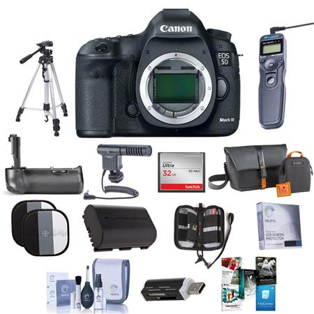 Canon EOS-5D Mark III Digital SLR Camera Body - USA Warranty, Bundle with New Leaf 3 Year (Drops & Spills)Warranty, Battery Grip, STV-250N, Lowepro Case, Spare Camera Battery, 32GB Memory Card, Memory Wallet & Screen Protector