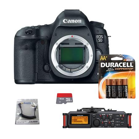 Canon EOS-5D Mark III Digital SLR Camera Body, USA - Bundle With Tascam DR-70D 4-Channel Audio Recorder for DSLR Cameras, SC35 3.5mm Stereo Output Cable, 4 Pack AA Batteries, 16GB Class 10 Micro SDHC Card