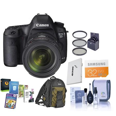 Canon EOS-5D Mark III Digital SLR Camera Body Kit with EF 24-70mm f/4L IS Lens - Bundle With SanDisk 32GB Extreme SDHC Memory Card, Deluxe Photo Backpack 200E, Cleaning Kit, Memory Card Holder