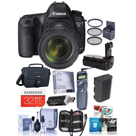 Canon EOS-5D Mark III DSLR Camera with EF 24-70mm f/4L IS Lens - Bundle With SanDisk 32GB Extreme SDHC Card, Spare Battery, Battery Grip, Screen Protecror, STV250 Video Cable, Wireless Remote shutter w/ Cable, Cleaning Kit, Memory Card Holder,