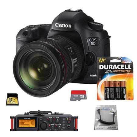 Canon EOS-5D Mark III DSLR Camera Body Kit with EF 24-70mm f/4L IS Lens - Bundle With Tascam DR-70D 4-Channel Audio Recorder for DSLR Cameras, SC35 3.5mm Stereo Output Cable, 4 Pack AA Batteries, 16GB Class 10 Micro SDHC Card, 32GB Class 10 SDHC Card