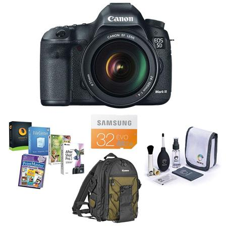 Canon EOS-5D Mark III DSLR Camera/Lens Kit with EF 24-105L IS Lens - Includes; SanDisk 32GB ExtremePRO SDHC Memory Card, Deluxe Photo Backpack 200EG
