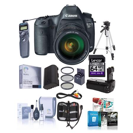 Canon EOS-5D Mark III Digital SLR Camera Body Kit with EF 24-105L IS Lens - Bundle, with Battery Grip, 2-Connecting Cords, STV-250N Stereo Video Cable, Spare Battery, 16GB CF Card, MemoryCard Wallet & Screen Protector