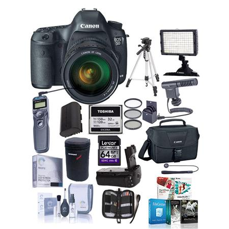 Canon EOS-5D Mark III Digital SLR Camera with EF 24-105L IS Lens - Bundle with Mack 3 Year Extended Warranty, Battery Grip, STV-250N, Case, 32GB Card, Card Wallet, 77MM Filter Kit (UV/CPL/ND8), Body & Rear Lens Caps, & MORE