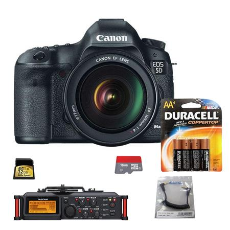 Canon EOS-5D Mark III Digital SLR Camera Body Kit with EF 24-105mm f/4L Image Stabilized Lens - Bundle With Tascam DR-70D 4-Channel Audio Recorder for DSLR Cameras, SC35 3.5mm Stereo Output Cable, 4 Pack AA Batteries, 16GB Class 10 Micro SDHC Card, 32GB Class 10 SDHC Card