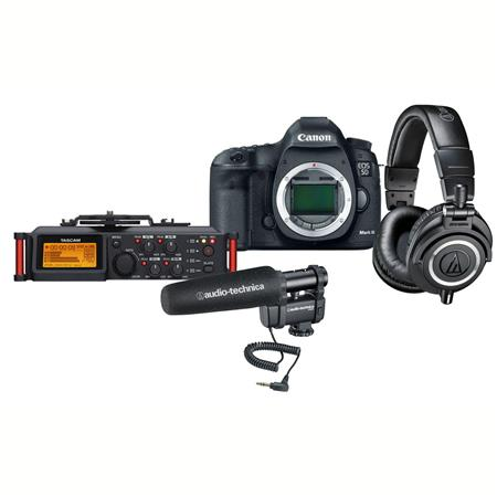 "Canon EOS-5D Mark III Digital SLR Camera Body, 22.3 Megapixel - USA Warranty ""Pro Audio Kit"" Bundle With Audio-Technica AT8024 Stereo/Mono Camera-Mount Microphone, Tascam DR-70D 4-Channel Audio Recorder, Audio-Technica ATH-M50x Pro Monitor Headphones,"