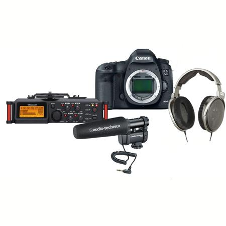 "Canon EOS-5D Mark III Digital SLR Camera Body, 22.3 Megapixel - USA Warranty ""Pro Audio Kit"" Bundle With Audio-Technica AT8024 Stereo/Mono Camera-Mount Microphone, Tascam DR-70D 4-Channel Audio Recorder, Sennheiser HD650 Audiophile Dynamic Hi-Fi Stereo Headphone"