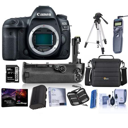Canon EOS 5D Mark IV Digital SLR Camera Body USA Warranty - Bundle with 64GB U3 SDXC Card, Holster Case, Tripod, Spare...
