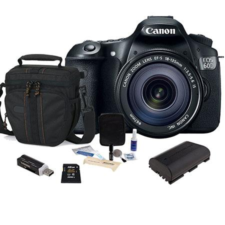 Discount Electronics On Sale Canon EOS 60D DSLR Camera / Lens Kit, Black with EFS 18-135mm IS Lens - U.S.A. Warranty - 16GB SDHC Memory Cards, Camera Bag, Spare LP E6 Battery. USB 2.0 SD Card Reader, Cleaning Kit