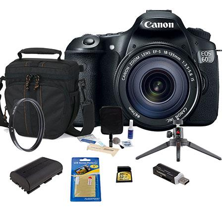Canon EOS 60D DSLR Camera / Lens Kit, Black with EFS 18-135mm IS Lens - U.S.A. Warranty - 32GB SDHC Memory Card, Camera Bag, Spare LP E6 Battery. SD Card Reader, Cleaning Kit, Aluminum Table Top Tripod, Screen Protector - 67mm UV Filter,