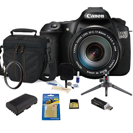 Canon EOS 60D DSLR Camera Body Kit, Black with EF-S 18-200mm f/3.5-5.6 IS Lens - U.S.A. Warranty - Bundle - With 32GB Ultra SDHC Memory Card, Camera Bag, Spare LP-E6 Lithium-Ion Battery, USB 2.0 SD Card Reader, Cleaning Kit, 3Pod Table Top Tripod, Screen