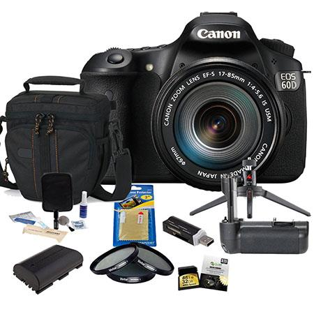 Canon EOS 60D DSLR Black with EF-S 18-200mm f/3.5-5.6 IS Lens U.S.A. - Bundle With 32GB Ultra SDHC Memory Card, Camera Bag, Spare Battery, Battery Grip, Newleaf 3 Year (Spills & Drops) Warranty, SD Card Reader, Cleaning Kit, 3Pod Table Top Tripod, Screen
