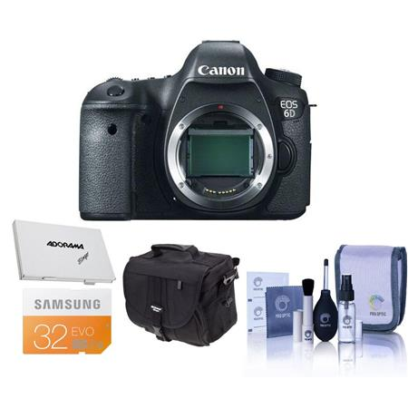 Canon EOS-6D Digital SLR Camera Body, 20.2 Megapixel - Bundle - with 32GB SDHC Class 10 Memory Card, Adorama Slinger Photo Video Bag, Cleaning Kit, Card Case