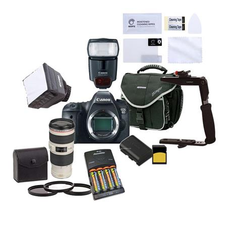 Canon EOS-6D Digital SLR Camera Body, - Beginner Wedding Bundle With Canon EF 70-200mm f/4L IS USM Lens, Canon Sppdelight 430EX, 2x 32GB Class 10 SDHC Card, 67mm Filter Kit, Camera Bag, Spare Battery, Min Soft Box Diffuser, Flip Flash Bracket, 4x AA Rechargeable Batteries W/Charger, Screen Protector