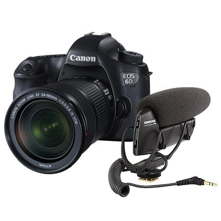 Canon EOS-6D Digital SLR Camera Kit with EF 24-105mm F3.5-5.6 IS STM Lens , Bundle With Shure VP83 LensHopper Camera-Mount Condenser Microphone