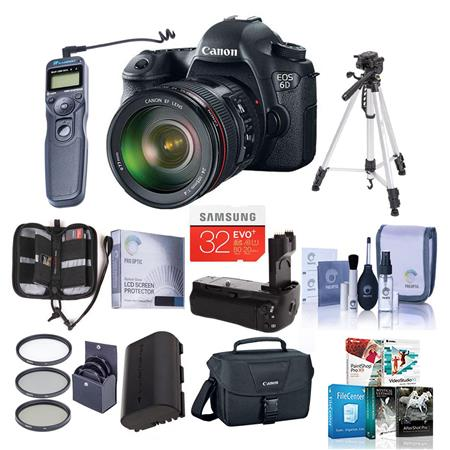 Canon EOS-6D Digital SLR Camera Kit with EF 24-105mm f/4L IS USM Lens - Bundle - with 16GB SDHC Class 10 Memory Card, LP-E6 Spare Battery, Camera Bag, Glass LCD Screen Protector with Cleaning Cloth , Camera Cleaning KIt, Card Case