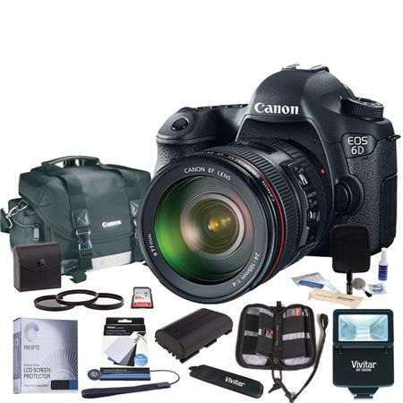 Canon EOS-6D Digital SLR Camera Kit with EF 24-105mm f/4L IS USM Lens - Bundle With 64GB Class 10 SDXC Card, Canon 200-DG Digital Gadget Bag, Gray Card Kit, Tripod, 77mm Filter Kit (UV/CPL/ND2), Spare Battery, Slave Flash, Cleaning Kit, Memory Wallet, Capleash II, Glass Screen Protector