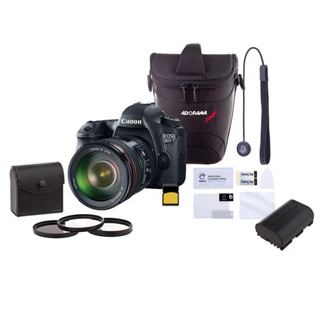 Canon EOS-6D DSLR Camera Kit with EF 24-105mm f/4L IS USM Lens - Bundle With Camera Case, 64GB Class 10 SDXC Card, Spare Battery, 77mm Filter Kit (UV/CPL/ND), Dedicated Glass Screen Protector, Cap Leash II