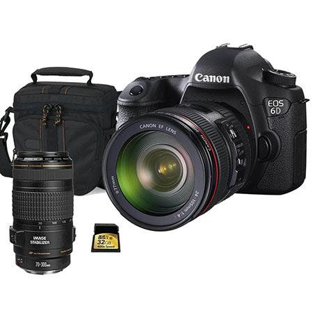 Canon EOS-6D Digital SLR Camera Kit with EF 24-105mm f/4L IS USM Lens - Bundle - with EF 70-300mm f/4-5.6 IS USM Lens, 32GB 200x SDHC Memory Card, Camera Carrying Case