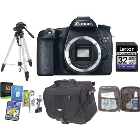Canon EOS 70D Digital SLR Camera Body   BUNDLE   with 32GB SDHC Card, Camera Case, Full Size Tripod, Cleaning Kit   Special Professional Software Package (Includes Corel PaintShop Pro X7, Corel AfterShot Pro 2, Nuance OnmiPage 18, FileCenter Standard 7)